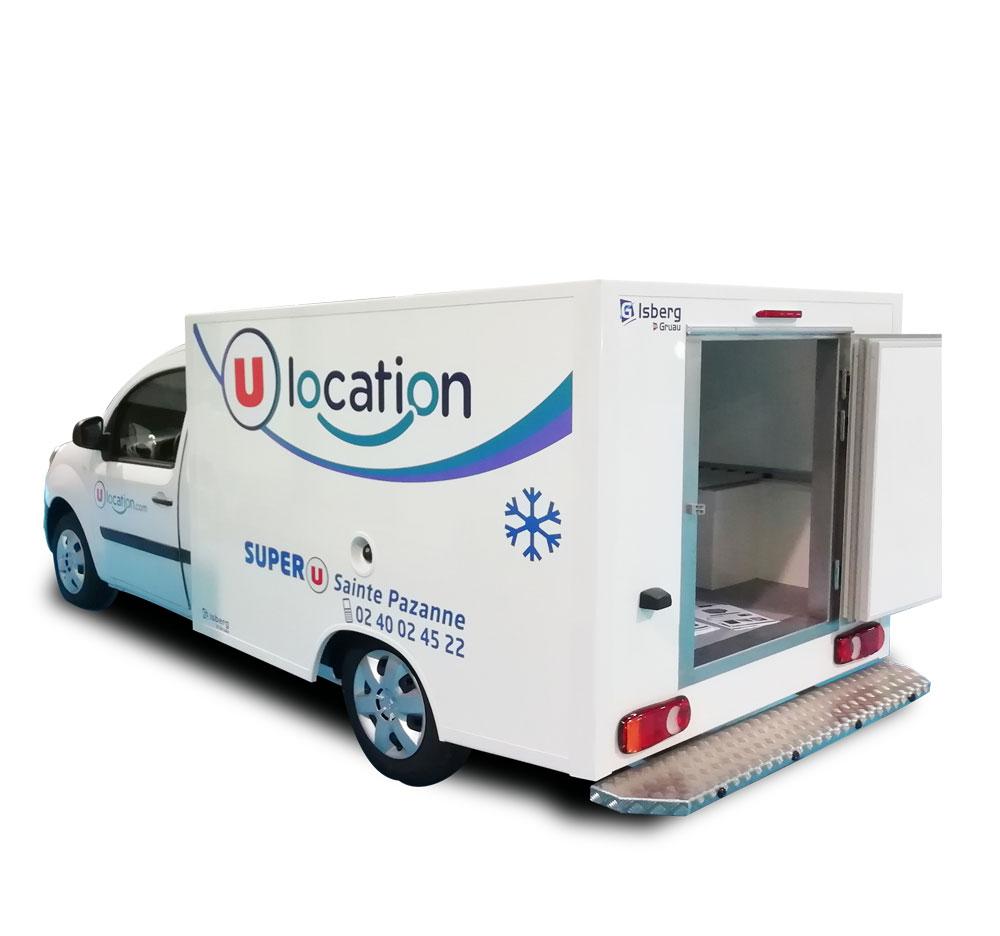 Location utilitaire Location u Super U MONDOUBLEAU Camion frigorifique 3 m3 - RENAULT KANGOO PLANCHER CABINE (ou équivalent)