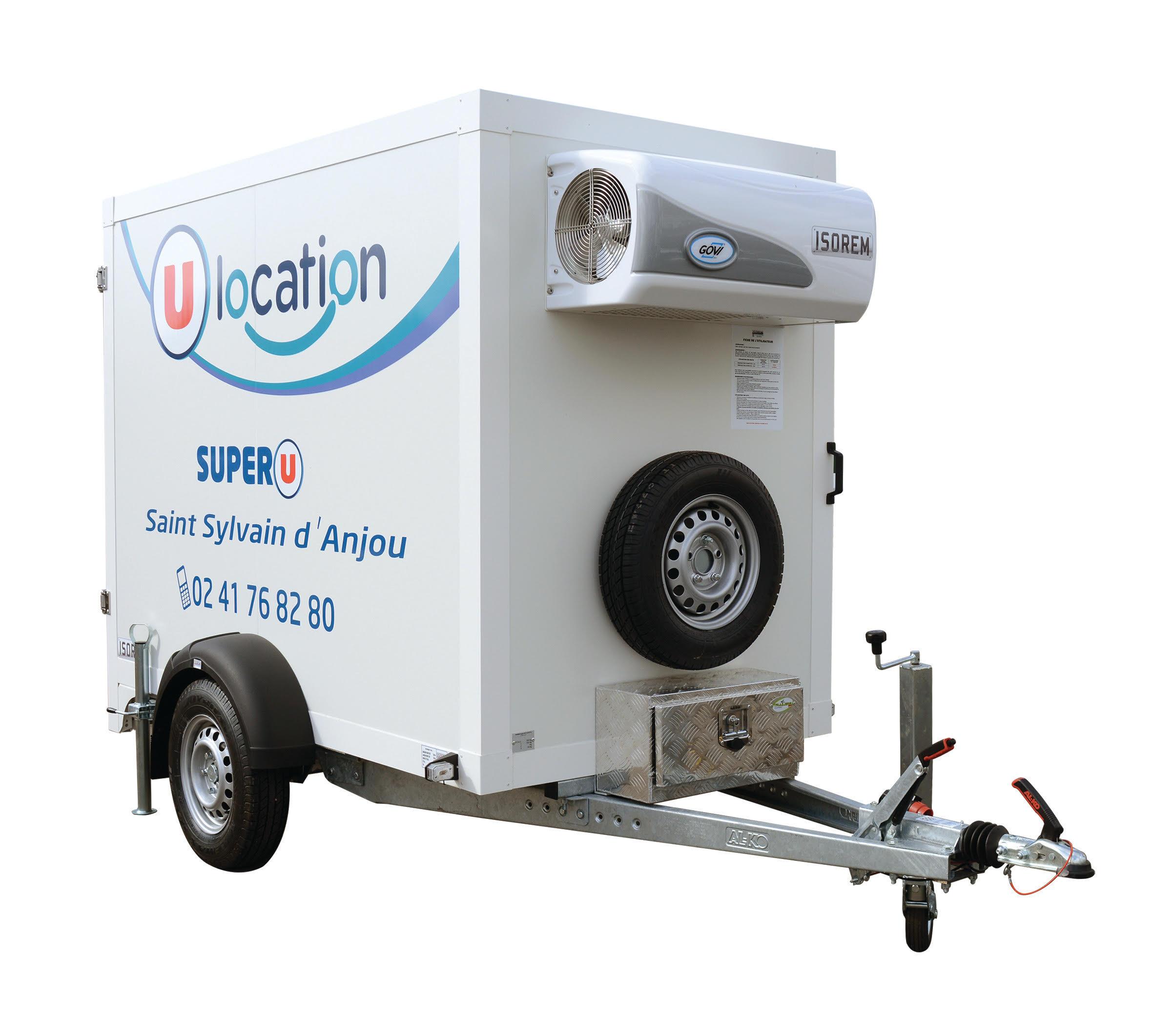 Location utilitaire Location u U Express GUERLESQUIN Remorque frigo. 2-3 m3 - ISOREM (ou équivalent)